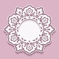 Lace doily, round cutout paper frame template