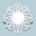 Lace doily, round frame with cutout paper border