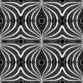 Lace elegance black and white abstract seamless pattern. Beautiful vector ornamental geometric background. Doodle hand drawn line