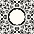 Lace frame realistic white lacy on black Stock Photos