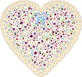 Lace heart cloth patch Royalty Free Stock Photo
