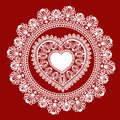 Lace heart on red background Royalty Free Stock Image