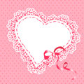 Lace heart with ribbon illustration Royalty Free Stock Images