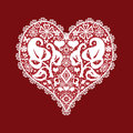Lace heart valentines greeitng card on red background Stock Photography