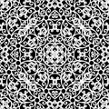 Lace ornament white pattern on black seamless Royalty Free Stock Photography
