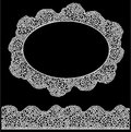 Lace oval frame and seamless stripe vintage white doily isolated on black background Stock Photography