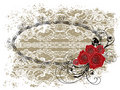 Lace oval frame valentine red roses and swirls Stock Photo