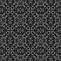 Lace pattern white ornament on black abstract seamless Stock Image