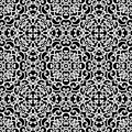 Lace pattern white ornament on black seamless Royalty Free Stock Photography