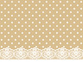 Lace and ribbon on polka dot fabric greeting or invitation card with Stock Images