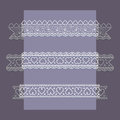 Lace ribbons set with hearts Stock Images
