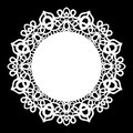 Lace round paper doily, lacy snowflake, greeting element, laser cut template, doily to decorate the cake,