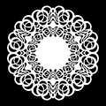 Lace round paper doily, lacy snowflake, greeting element, laser cut template, doily to decorate the cake, vector