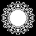 Lace round paper doily, patern of oak leaves, greeting element, laser cut template, doily to decorate the cake Royalty Free Stock Photo