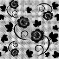 Lace seamless background of black vector illustration Royalty Free Stock Photo