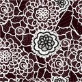 Lace seamless pattern with abstract elements. Vector floral background.