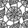 Lace seamless pattern with black flowers and leaves on white background