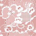 Lace seamless pattern with flowers white on pink background Royalty Free Stock Images