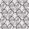 Lace seamless pattern with ornamental hearts. Texture for valentines day wrapping paper, wedding invitation background, textile fa Royalty Free Stock Photo