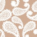 Lace seamless pattern with paisley white on beige background Royalty Free Stock Image