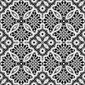 Lace texture white on black seamless pattern vintage lacework ornament Royalty Free Stock Photo