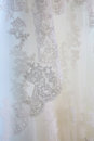 Laced veil lace ornament on a bride s Stock Photo