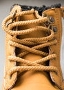 Laces of a boot closeup brown on brown Stock Photography