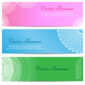 Lacework ornamental banners horizontal set vector illustration Stock Photography