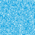 Lacey blue and white blossoms seamless pattern vector background with hand drawn elements Royalty Free Stock Photos