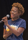 """Lachanze actress sings love while you can from if then at """"stars in the alley """" a free outdoor concert produced by the Royalty Free Stock Photo"""