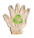 Lack gloves fabric garbage with recycle recycle sign isolated on white background eco recycle concept Stock Photo