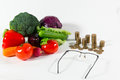 Lack of pension on vegetables older people concept Royalty Free Stock Photo