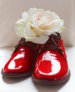 Lacquer red shoes over white Stock Photos