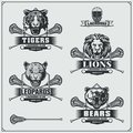 Lacrosse badges, labels and design elements. Sport club emblems with bear, lion, tiger and leopard.