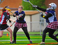 Lacrosse ball by goalie april ogla oregon girls hillsboro oregon hill hi spartans varsity v sherwood or lady bowmen sherwoods Stock Photo