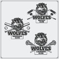 Lacrosse, baseball and hockey logos and labels. Sport club emblems with head of wolf.