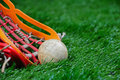 Lacrosse close up view of ball pickup Royalty Free Stock Images