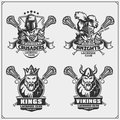 Lacrosse club emblems with viking, king, knight and crusader.