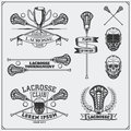 Lacrosse club labels, emblems and design elements.