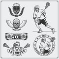 Lacrosse club labels, emblems, design elements and silhouettes of the players. Royalty Free Stock Photo