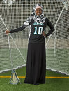 Lacrosse girl with attitude march ogla oregon girls hillsboro oregon century high school jaguar junior nasra aden poses in front Royalty Free Stock Photos