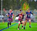 Lacrosse girls coming to a stop april ogla oregon hillsboro oregon hill hi spartans varsity v sherwood or lady bowmen sherwoods Royalty Free Stock Photos