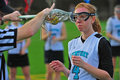 Lacrosse girls stick check Stock Photo