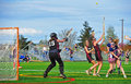 Lacrosse girls wild ball april ogla oregon hillsboro oregon hill hi spartans varsity v hillsboro glencoe red tide hill hi spartan Royalty Free Stock Photography