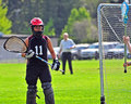 Lacrosse goalkeeper Stock Photo