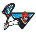 Lacrosse player crosse stick illustration of a holding a or viewed from front set inside triangle Stock Photos