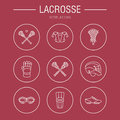 Lacrosse sport game vector line icons. Ball, stick, helmet, gloves, girls goggles. Linear signs set, championship