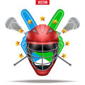 Lacrosse sticks and helmet Label