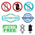 Lactose free symbols set of isolated on white background Stock Image