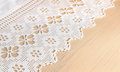 Lacy cloth white on board Royalty Free Stock Photo